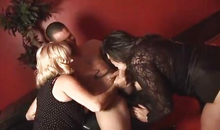 Girl in stockings giving her lover a hole in the L. granny handjob
